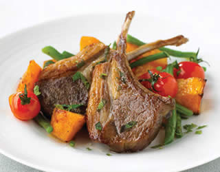 Lamb Cutlets with Butternut Squash, Beans, and Mint